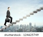 businessman stepping up a... | Shutterstock . vector #124625749