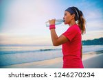 asian women jogging workout on... | Shutterstock . vector #1246270234