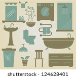 set of vector furniture icons... | Shutterstock .eps vector #124628401