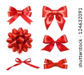 Set of six red ribbon satin...