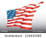 waving american us flag vector... | Shutterstock .eps vector #124632385