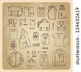 men's clothes sketches men... | Shutterstock .eps vector #124632619