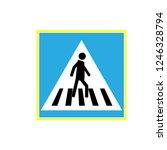 crosswalk sign black in blue... | Shutterstock . vector #1246328794