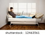young designer working at home... | Shutterstock . vector #12463561