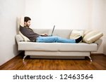 young designer working at home... | Shutterstock . vector #12463564
