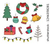 items of christmas party. | Shutterstock .eps vector #1246358281