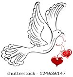 vector dove with heart shaped | Shutterstock .eps vector #124636147