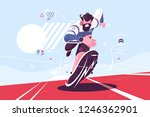 bearded dude running fast on... | Shutterstock .eps vector #1246362901