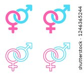 set of male and female symbols... | Shutterstock .eps vector #1246365244