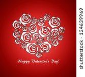 valentine's day red heart roses | Shutterstock .eps vector #124639969