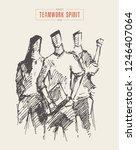sketch of three people standing ... | Shutterstock .eps vector #1246407064