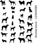 dogs silhouettes 3 illustrations | Shutterstock . vector #12464080