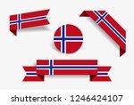norwegian flag stickers and...   Shutterstock .eps vector #1246424107