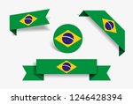 brazilian flag stickers and...   Shutterstock .eps vector #1246428394