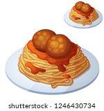 spaghetti and meat balls....   Shutterstock . vector #1246430734