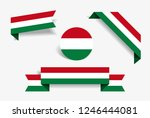 hungarian flag stickers and... | Shutterstock .eps vector #1246444081