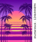 sunset with palm trees  trendy... | Shutterstock .eps vector #1246444894