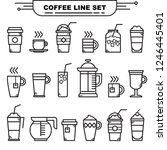 various coffee and tea cups... | Shutterstock .eps vector #1246445401