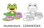 cute frog sits on leaf of lily...   Shutterstock .eps vector #1246465264