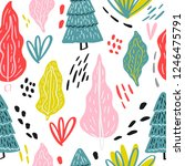 floral seamless pattern with...   Shutterstock .eps vector #1246475791