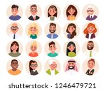 set of avatars of happy people... | Shutterstock .eps vector #1246479721