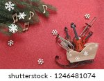 sledge with musical instruments ... | Shutterstock . vector #1246481074