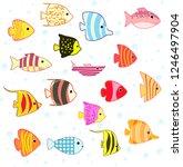 cartoon tropical fish set | Shutterstock . vector #1246497904