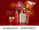 beauty product  red and gold... | Shutterstock .eps vector #1246498621