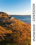 vertical photo of far wooden... | Shutterstock . vector #1246532434