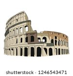 rome colosseum arena in italy... | Shutterstock .eps vector #1246543471
