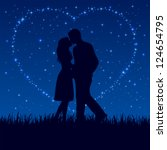 two enamored on the night sky... | Shutterstock .eps vector #124654795