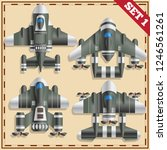 a set of fantastic spaceships.... | Shutterstock .eps vector #1246561261