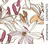 seamless floral pattern with... | Shutterstock .eps vector #1246566751