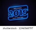 2019 in neon style background | Shutterstock .eps vector #1246568797