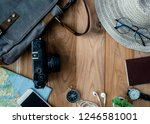 top view travel concept with... | Shutterstock . vector #1246581001