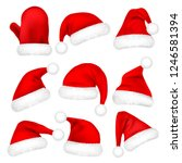 christmas santa claus hats with ... | Shutterstock .eps vector #1246581394