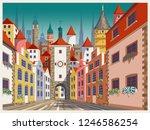 medieval urban landscape....   Shutterstock .eps vector #1246586254