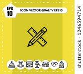 pencil rule icon vector | Shutterstock .eps vector #1246594714