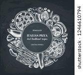 fast food art. vintage pizza... | Shutterstock .eps vector #1246610794