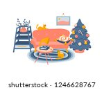 cute flat style vector interior ... | Shutterstock .eps vector #1246628767