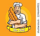 chef holding baguette   Shutterstock .eps vector #1246644901