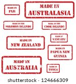 Set of red rubber stamps of Made In symbols for Australasia region - stock photo