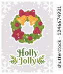 christmas wreath holly jolly...   Shutterstock .eps vector #1246674931