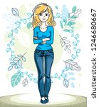 happy young blonde woman posing ... | Shutterstock .eps vector #1246680667