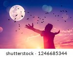 copy space man raise hand up on ... | Shutterstock . vector #1246685344