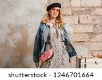 attractive stylish blonde woman ... | Shutterstock . vector #1246701664