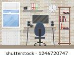 room of workspace flat elements ... | Shutterstock .eps vector #1246720747
