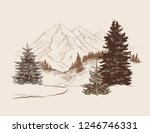landscape with a road  spruces ... | Shutterstock .eps vector #1246746331