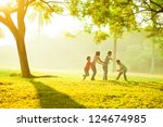 asian family outdoor quality... | Shutterstock . vector #124674985