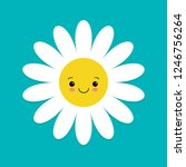 white daisy chamomile with face ... | Shutterstock .eps vector #1246756264